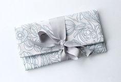 Bridesmaid Clutch, Wedding Clutch Purse, Blush Gray White, Silver Ribbon Bow, Personalized Bridesmaid Gift
