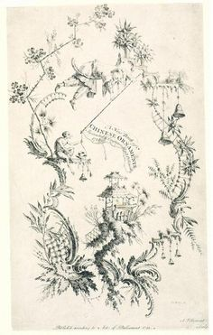 Chinoiserie print by Rococo artist Jean-Baptiste Pillement (1728-1808). From 1768-1780, Pillement was employed by Marie Antoinette in the Petit Trianon. His designs were used by engravers and decorators on wallpaper, porcelain, pottery, textiles, and silver.