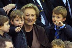 royalwatcher:  Prince Nicolas and Prince Aymeric, twin sons of Prince Laurent and Princess Claire, with their grandmother Queen Paola