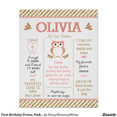 Shop First Birthday Poster, Pink and Gold Glitter Owl Poster created by FancyShmancyNotes. Owl First Birthday, Simple First Birthday, First Birthday Posters, Pink Birthday, Husband Birthday, Birthday Board, Glitter Birthday Parties, 1st Birthday Parties, Birthday Ideas
