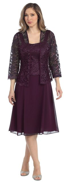This short A line modest knee length plum dress is perfect for mother of the bride or another formal occasion. This lace with pebble dress has wide sleeveless tank straps and also includes a matching