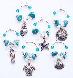 BEACH VIBE COASTAL STYLE Wine Glass Charms, Turquoise, Starfish, Seahorse, Sand Dollar, Shells, Crystal, Pearl, Ceramic Beads, Charms, Antique