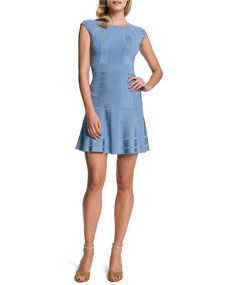 Cynthia Steffe: Tamra Fit-and-Flare Dress, Misty Blue. Jewel neckline, cap sleeves, a-line silhouette, pullover style.