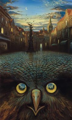 """EVENING'S FLIGHT  Vladimir Kush  """"The owl can appear as an attribute of the allegorical figures of Night and Dream. Being nocturnal bird, the owl became symbolic of the time when we are surrounded with the silence and can concentrate ourselves, digest our thoughts and compose them. """"..."""