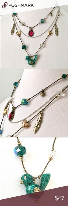 """Betsey J 'Flights of Fancy' Bird Illusion Necklace From another popular, retired collection. Illusion necklace features its glittery teal blue bird, along with pretty charms, crystals and beads. Teal and fuchsia are the prominent colors. 16"""", 18"""", 20"""" chains with 3"""" extender. No tag, new condition. HTF. So cute! Betsey Johnson Jewelry Necklaces"""