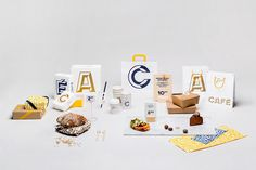 Packaging with bold typographic approach for Helsinki-based Fazer Cafe designed by Kokoro & Moi