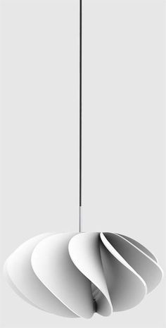 White petals folds lamp.Lamina Pendant Lamp by Philipp Glass