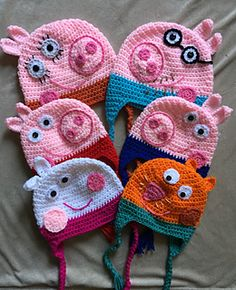 Ravelry: Peppa Pig Collection pattern by It's So Crochet Mummy Pig will be mummy to Crochet Animal Hats, Crochet Pig, Crochet Baby Hat Patterns, Crochet Kids Hats, Crochet Beanie, Knitting Patterns, Crochet Vests, Crochet Cape, Crochet Shirt
