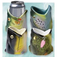 These would be fun to have for on our bass boat! Fish Head Can Cooler Set