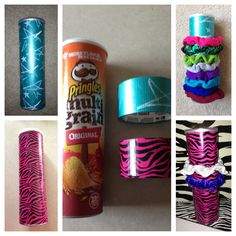 Scrunchie Holder!  Made from empty Pringles can and fun decorative duct tape!  Large scrunchies stretch easily around can and smaller ones can be stored inside can! I have struggled for years with trying to find a good way to store these.  This is so simple!!