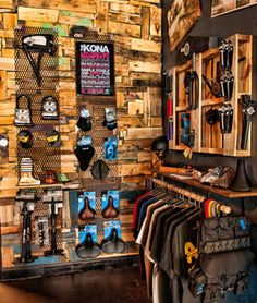 The Path Bicycle and Ride Shop recycled palate, wood and metal display wall
