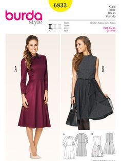 Schnittmuster: Kleid – Taillennaht – glockiger Rock - Damen - burda style