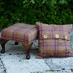 This is one of my favourite tartan fabrics. I love the mix of browns and the very distinct berry going through. Looks great with Light Peach Blossom or Roman Plaster from Little Greene Paint Company.  ◦Superior Abraham Moon Fabric  ◦Small 32cm x 32cm footstool  ◦Hand made 6″ dark wood legs, styled by our in house joiner  ◦Looks great in any home and interior style  ◦FREE UK Delivery  ◦Matching cushion sold separately.