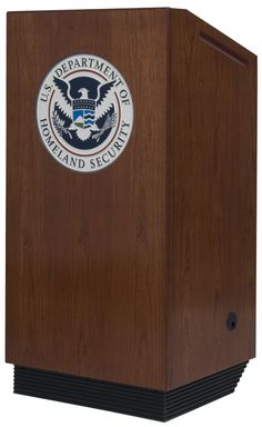 Wood Veneer EganLectern with customer-supplied logo plate for the Department of Homeland Security.