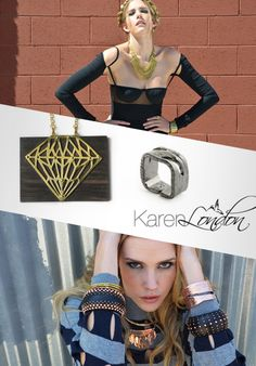 Los Angeles jewelry designer Karen London launched her namesake collection in Spring The brand blends bohemian chic with hard edge by infusing metals with wood materials. Spotlight, Giveaway, Jewelry Design, Product Launch, Bohemian, London, Chic, Modern, Collection