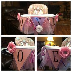 1st Birthday Decoration for Highchair! Printed letters from free printable at shanty-2-chic.com Glitter paper on back is scrapbook paper. Tutu is from a Hobby Lobby diaper cake decoration kit that I cut & added ribbon. Pink flowers came with kit, white flower is ours. Used peel-and-stick Velcro to attach it to her highchair.