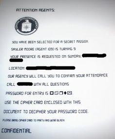 Secret Agent Invitation