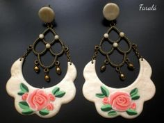 Pendientes de flamenca floral