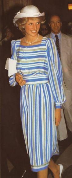 June 20, 1983: Princess Diana in Ottawa, Canada. Prime Minister Pierre Trudeau follows behind her.  (Day 7)