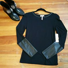 BLACK FAUX LEATHER TOP  Black Faux Leather Top NWT Laundry by Shelli Segal Tops Blouses