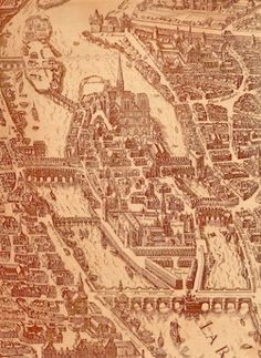 """Detail of the """"map of Paris"""" by Melchior Tavernier ca. 1630"""