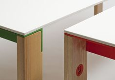 """NGL Table """"Ash legs and apron, ultra matte lacquer Powder-coated aluminum angle end stretchers"""" Umproject"""