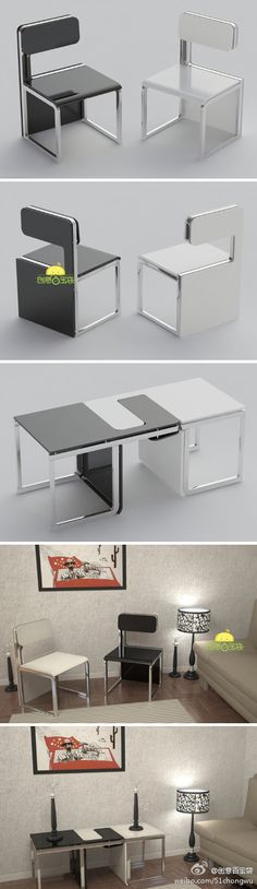How awesome is this?? Chairs into table :) #pin_it @mundodascasas see more here: www.mundodascasas.com.br