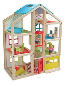 {Hi-Rise Wooden Dollhouse and Furniture Set} Fresh, gender-neutral colors and patterns add a lively edge to the natural-wood frame...