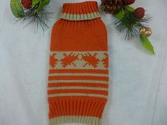 Dog Or Cat Sweater Orange & Tan Striped with Maple leaf choose SM or XS