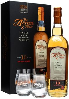 Arran 10 Year Old Single Malt #Scotch Whisky Gift Set. Aged for a minimum of ten years, this gift set includes a decade-old #whisky and two nosing glasses.   @Caskers
