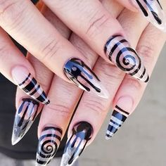 Nail art from the NAILS Magazine Nail Art Gallery, acrylic, halloween, Witchy Nails, Goth Nails, Edgy Nails, Aycrlic Nails, Stiletto Nails, Swag Nails, Hair And Nails, Edgy Nail Art, Grunge Nails