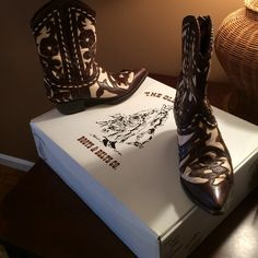 The Original Cowboy Boot- The Old Gringo Authentic Leather Chocolate Brown and Bone western boots! Shoes Ankle Boots & Booties