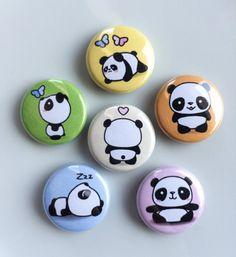 Kawaii Cute Panda Pinback Buttons 1 Pinback by MyLittleUsagi