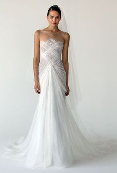 What do you think? Marchesa Art Deco Wedding Dress - i like the bodice Art Deco Wedding Dress, Fall Wedding Dresses, Wedding Dress Styles, Wedding Gowns, Gatsby Wedding, Marchesa Wedding Dress, Marchesa Bridal, Marchesa Gowns, Marchesa Spring
