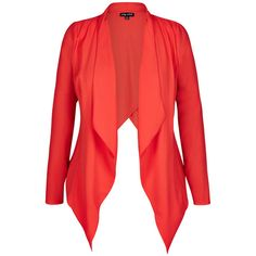 CityChic Colored X Over Drape Jacket ($40) ❤ liked on Polyvore featuring outerwear, jackets, lightweight jackets, drape front jacket, cropped jacket, red jacket and light weight jacket