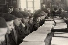 Boys studying in a heder.  Kamionka Strumilowa, 1920s.