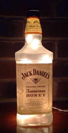 Very cool Frosted Tennessee Honey Jack Daniels bottle lamp with frosted white mini lights Measures 10″ high and 3″ wide at base find me on Facebook at lightitupcreations  Purchase this item on eBay!
