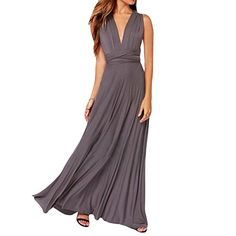 Sue&Joe Women's Bridesmaid Prom Gown Empire Waist Formal Evening Maxi Dresses, Grey, TAG SIZE L=US SIZE 8