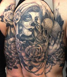 Nina's Tattoo Diary: Healed muertelady and skull