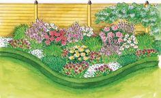Das Beet ist in Weiß und Rosa gehalten und hat vom Frühling bis zum Herbst neue Blühaspekte im Garten zu bieten