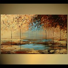 palette knife textured forest painting trees