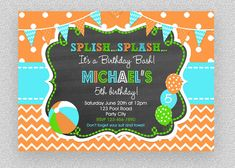 Boys Pool Party Invitation , Children's Pool Party Invitation, Splash Birthday Party, Invitation, P Pool Party Birthday Invitations, Printable Invitations, Boy Pool Parties, Kids Beach Party, Personalized Pillow Cases, Party Signs, Party Items, Boys, 4th Birthday