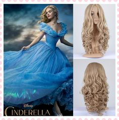 2015-New-Movie-Princess-Cinderella-Wig-Brown-Blonde-Hair-Highlights-Synthetic-Long-Curly-Wavy-Wig-With.jpg (846×856)
