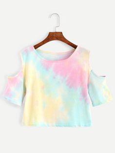 Shop Multicolor Pastel Tie Dye Open Shoulder T-shirt online. SheIn offers Multicolor Pastel Tie Dye Open Shoulder T-shirt amp; more to fit your fashionable needs. t-shirt nfl T Shirt And Shorts, Dye T Shirt, Cute Tie Dye Shirts, White Cold Shoulder Top, Shoulder Tops, Teen Fashion, Fashion Outfits, Fast Fashion, Fashion Online