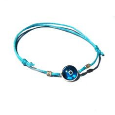 Turquoise Blue Evileye Bracelet in Silver by toosis