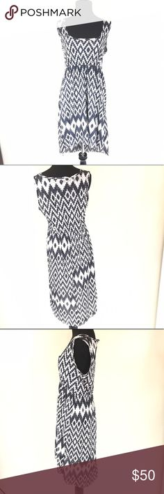 ANTHROPOLOGIE LILKA BLACK AND WHITE AZTEC DRESS Super cute dress from anthropologie. Black and white Aztec print size large Anthropologie Dresses High Low