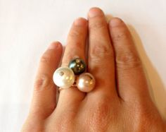 Pearl Ring - Cultured South Sea Pearl - Diamond 14k White Gold - R1604 - Edit Listing - Etsy