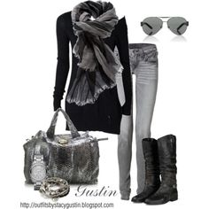 Grey skinny jeans, knee high boots, two tone scarf and accessories to match. So simple, yet to DIE for. LOVE it ;)