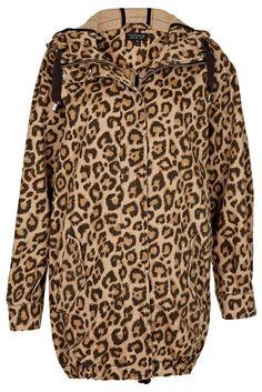 Topshop Leopard Ovoid Parka Jacket
