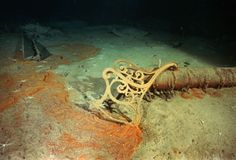The remains of a bronze deck bench lies among the wreckage of the Titanic.